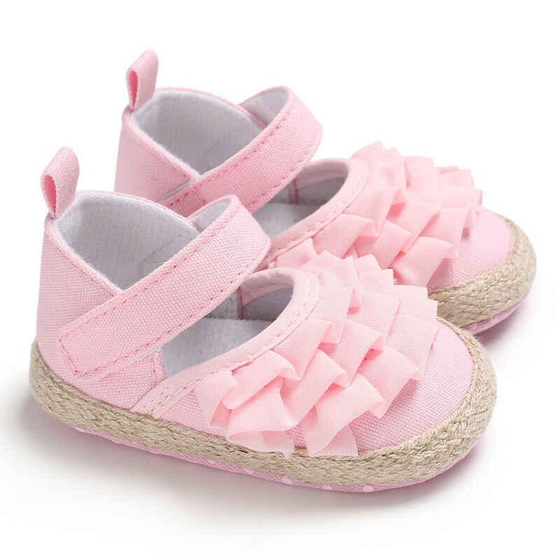 Zapatos de verano 2020 para recién nacidos, zapatos para bebés, bebés, niñas suaves, suaves, planos, zapatillas de lona, zapatos de moda, Causal, primeros caminantes