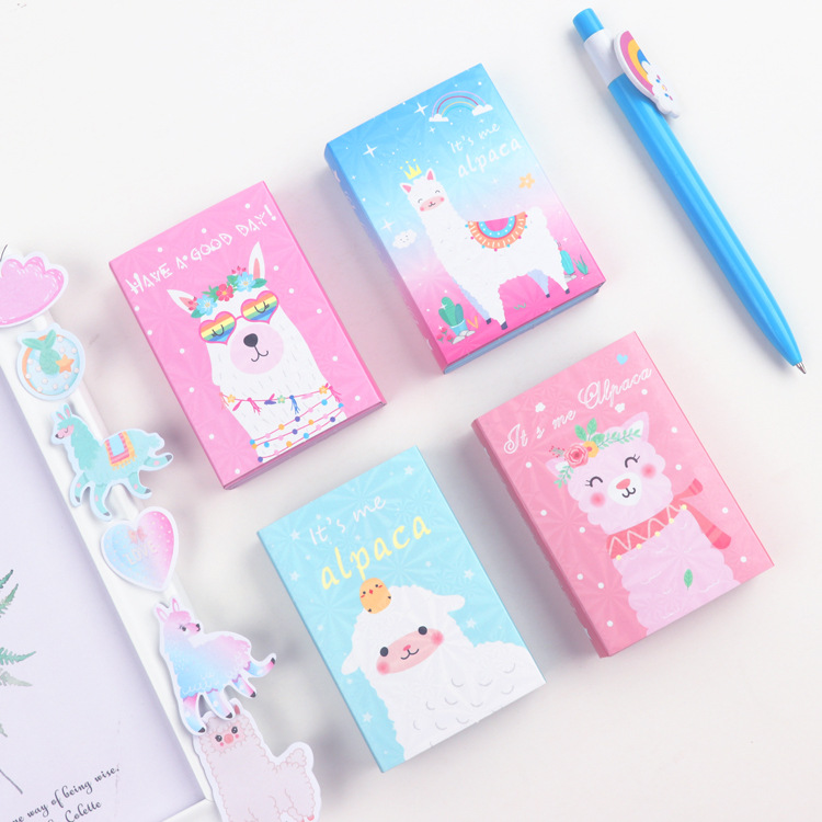 Kawaii Alpaca Colorful 6 Folding Memo Pad N Times Sticky Notes Escolar Papelaria School Supply Bookmark Label