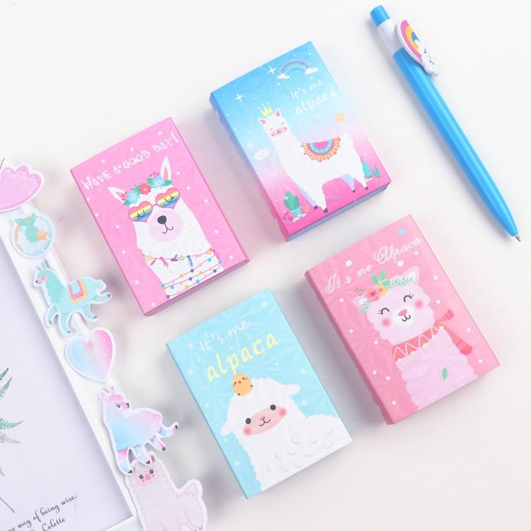 Kawaii Alpaca Colorful 6 Folding Memo Pad N Times Sticky Notes Escolar Papelaria School Supply Bookmark Label