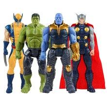 цена 30cm Marvel Super hero Avengers Endgame Spiderman Hulk Iron Man Captain America Wolverine Action Figure Doll for Kid Toy gifts онлайн в 2017 году