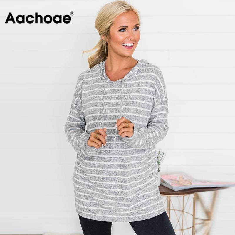 Aachoae Striped Sweatshirts 2020 Autumn Women Hoodies Long Sleeve Hooded Sweatshirt Jumper Ladies Casual Tops Loose Pullovers