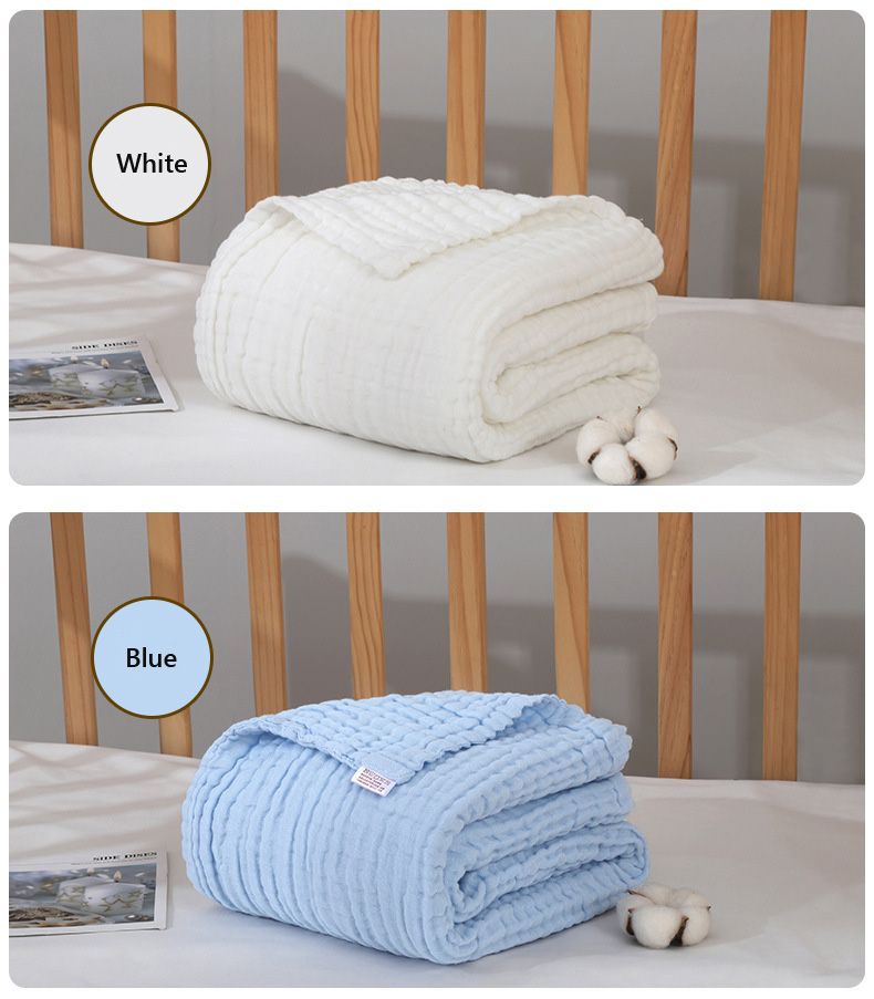 Baby Bath Towel Solidcolor Muslin Cloth Kids Bathrobe Child Blanket Wrap for Newborn Toddler Boys Girls Gauze Cotton 105x105cm