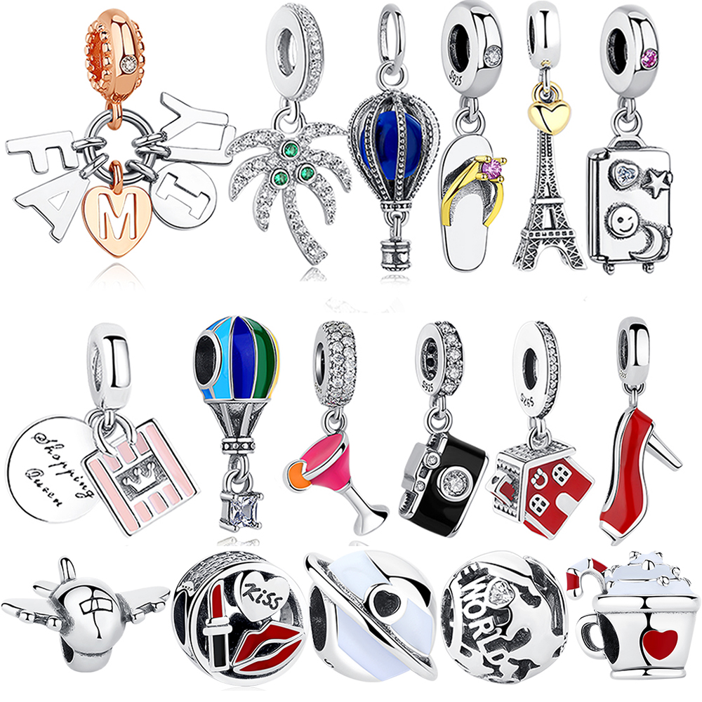 925 Sterling Silver Charm Bead Travel Plane Camera Eiffel Tower Hot Air Balloon Beads Fit Original Pandora Bracelet DIY Jewelry