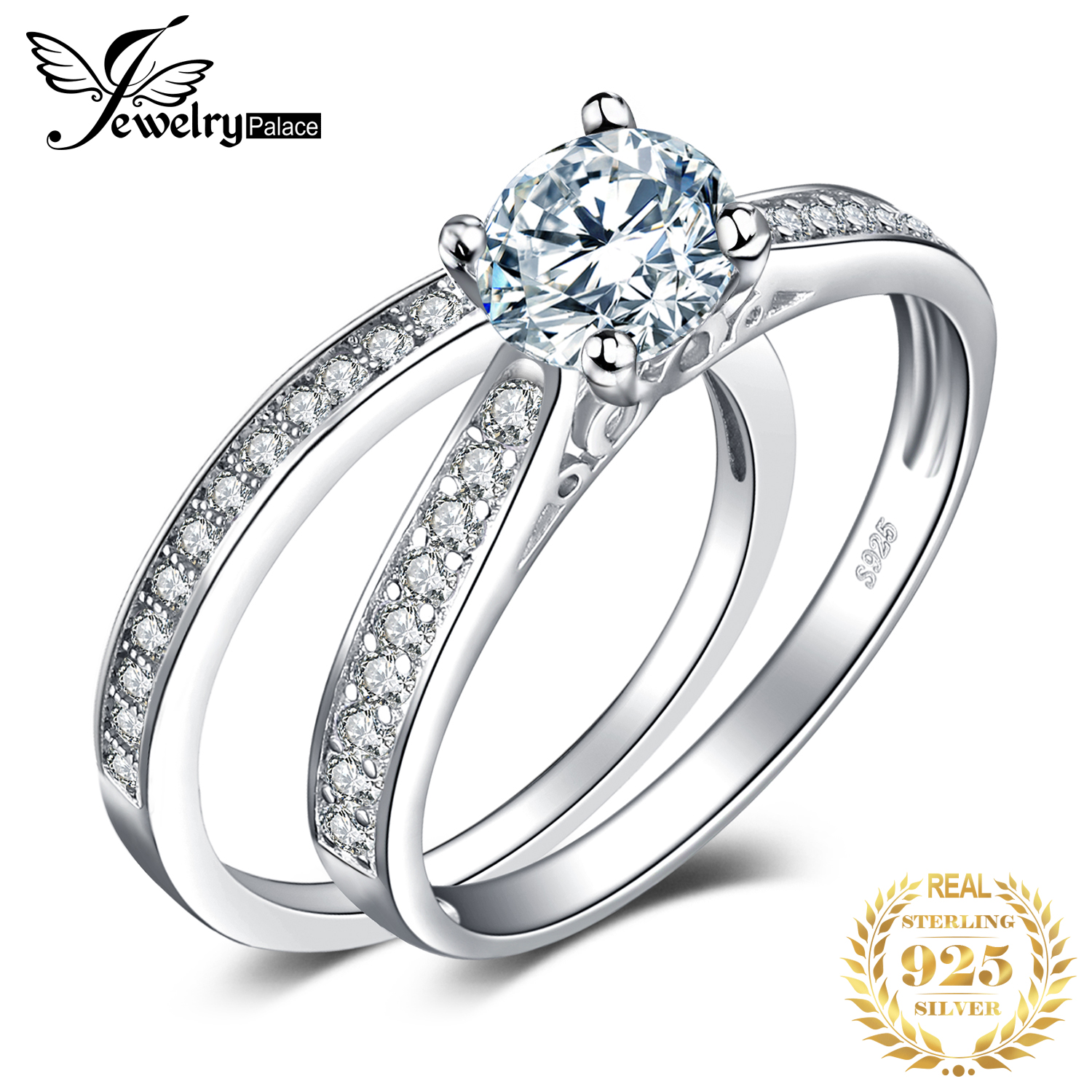 Jpalace Cz Engagement Ring Set 925 Sterling Silver Rings For Women Anniversary Wedding Rings Band Bridal Sets Silver 925 Jewelry Rings Promise Gift Giftsgift Jewelry Aliexpress
