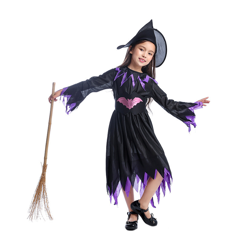 Girls Purple Black Halloween Witch Costume Kids Carnival Party Role Playing Outfits Children Festival School Performance Dress Girls Costumes Aliexpress