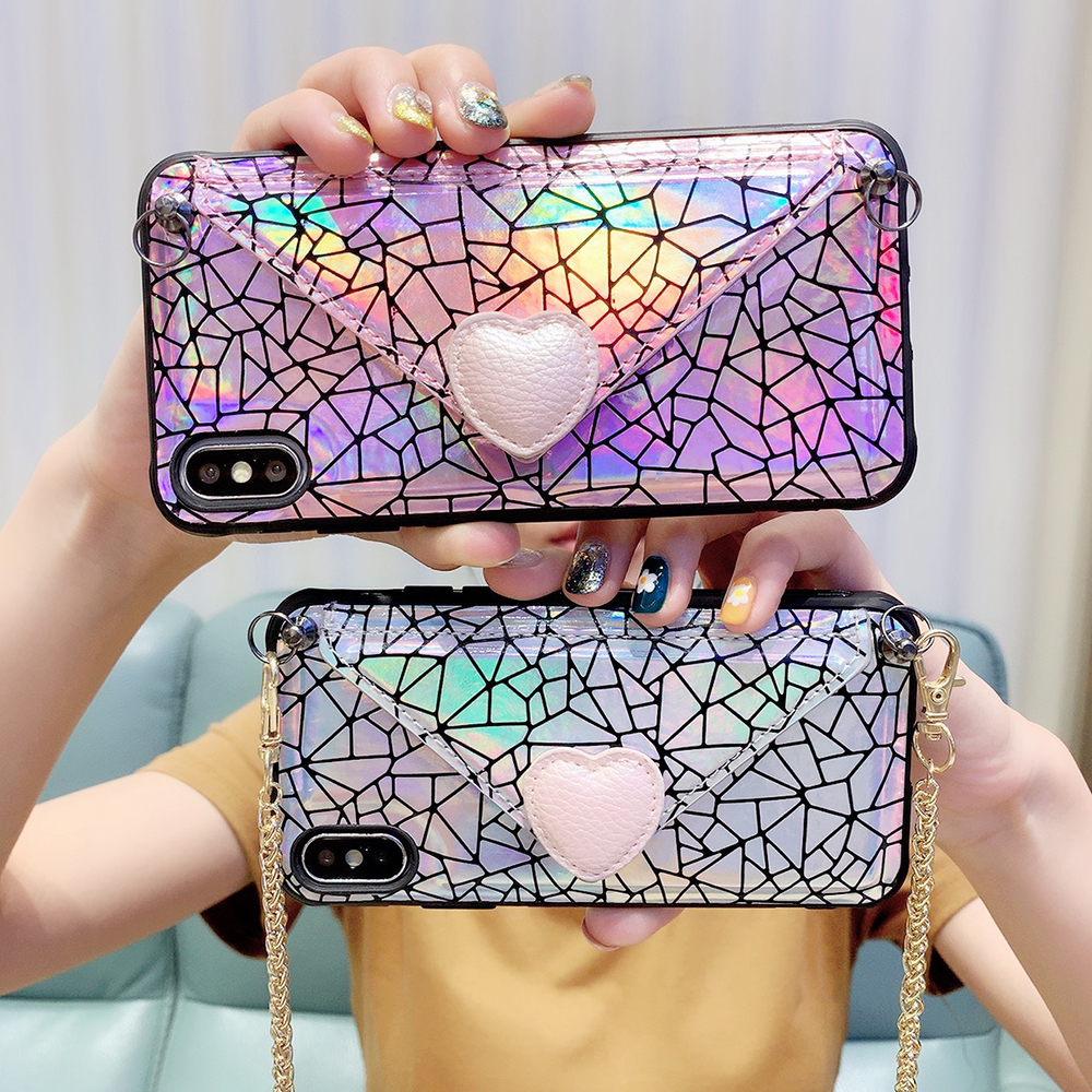 Luxury Laser Leather Case For iPhone Xs Max XR X Wallet Card Back Cover Fashion Colorful Phone Case For iPhone X 6 6S 7 8 Plus