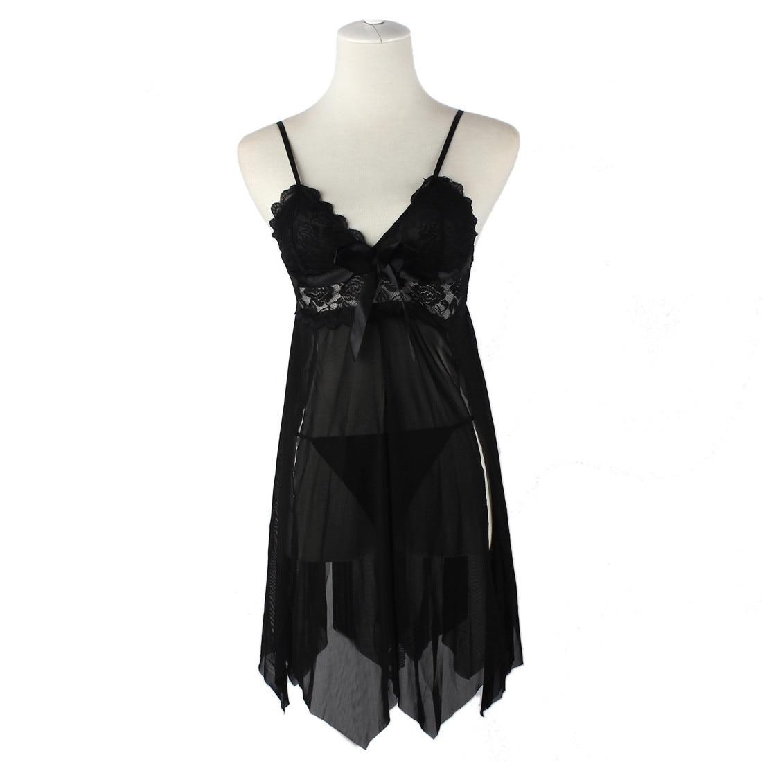 Сексуальное женское дамское милое розовое белье с лямкой на шее, кружевное белье с открытой спиной, ночная рубашка, платье+ стринги, комплект ночного белья#1026
