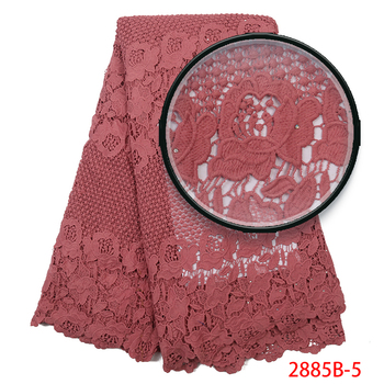 High Quality Silk Milk Lace Embroidery Bridal Cotton Lace Fabric with Stones African Cord Lace Fabrics Guipure Lace APW2885B