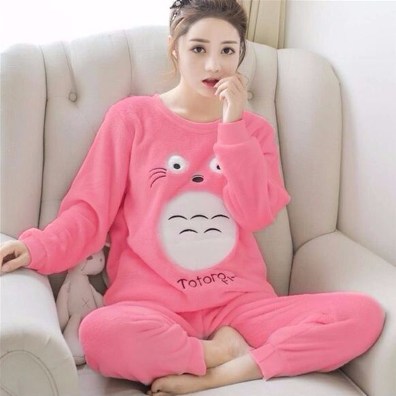 Flannel Pajamas Set Women Plush Warm Sexy Autumn Winter Thick Pyjamas Flannel Home Spring Cartoon Student Sleepwear 2Piece/Set
