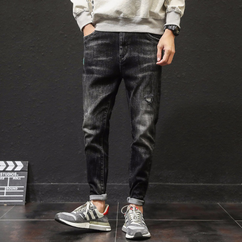 Popular Brand Men With Holes Jeans Slim Fit Pants Elasticity Korean-style Trend Ripped Jeans Men's, Black Trousers