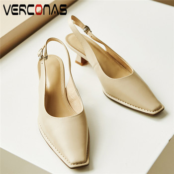VERCONAS Women Lace Up Buckle New Arrival Genuine Leather Pointed Toe Slippers Basic Shoes Sandals High Heels Summer Shoes Woman
