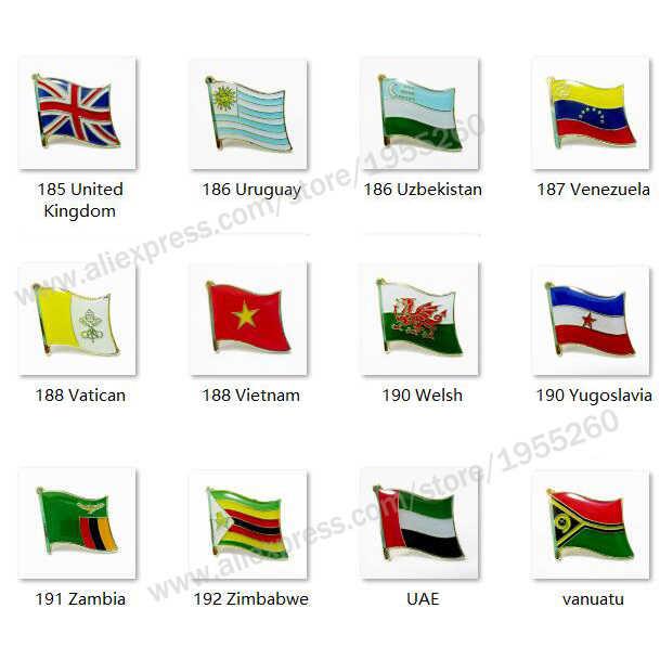Nationalen Flagge Metall Revers Pin Flagge Pin Abzeichen Alle Über die Welt Vereinigten Königreich Uruguay Vietnam Welsh Jugoslawien UAE vanuatu