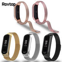 Rovtop Strap For Xiaomi Mi Band 4 Strap For Xiaomi Miband 3 Bracelet For Miband 3 M3 M4 Metal Screwless Stainless Steel