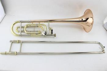 MARGEWATE tenorowy Bb-F # dostroić fosforu i miedź puzon New Arrival Instrument muzyczny róg z przypadku ustnik tanie i dobre opinie Tenor spada dostroić b Tenor Trombone Żółty mosiądzu Złoty lakier Fosforu i miedzi