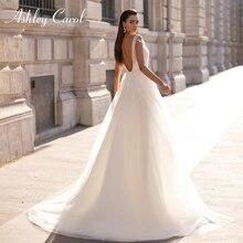 Ashley Carol A Line Wedding Dress 2020 Sweetheart Short Tulle Beaded Appliques Bride Sexy Backless Bridal Gown Vestido De Novia