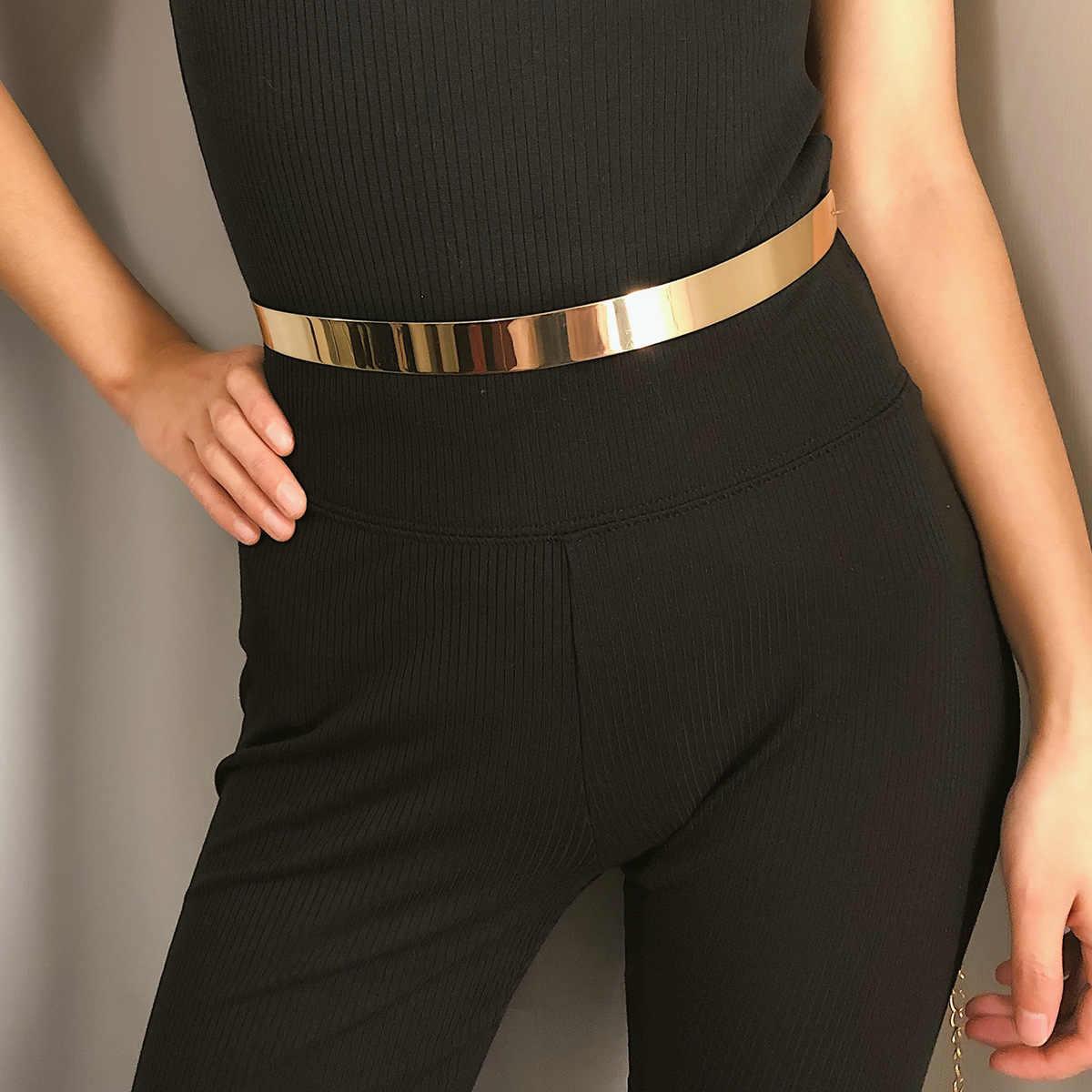Youvanic gładka elastyczna złota Plateed metalowa talia Tassel lustro metaliczna sukienka Bling łańcuszek do spodni moda szeroki Obi Band 0412