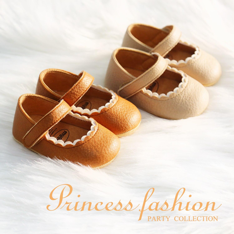Туфли из мягкой кожи; Кружевное платье для маленьких девочек; Обувь для принцессы для новорожденных; Женские мокасины; Резиновая подошва с п...