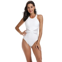 High Quality Real Rayon Bandage Bodysuits One Piece Mesh Patchwork Sexy Lady Sheath Open Back Bodysuit White Black