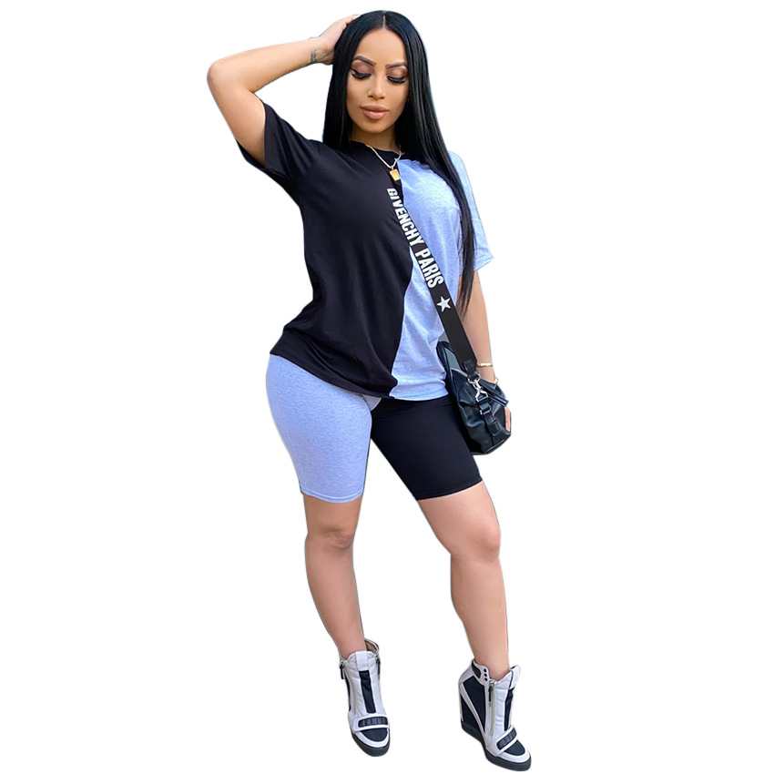 2020 Women Sets Summer Tracksuits Patchwork Sportswear Tops + Shorts Two Piece Suit Set Club Party Street 2 Pieces Sexy Outfits 2