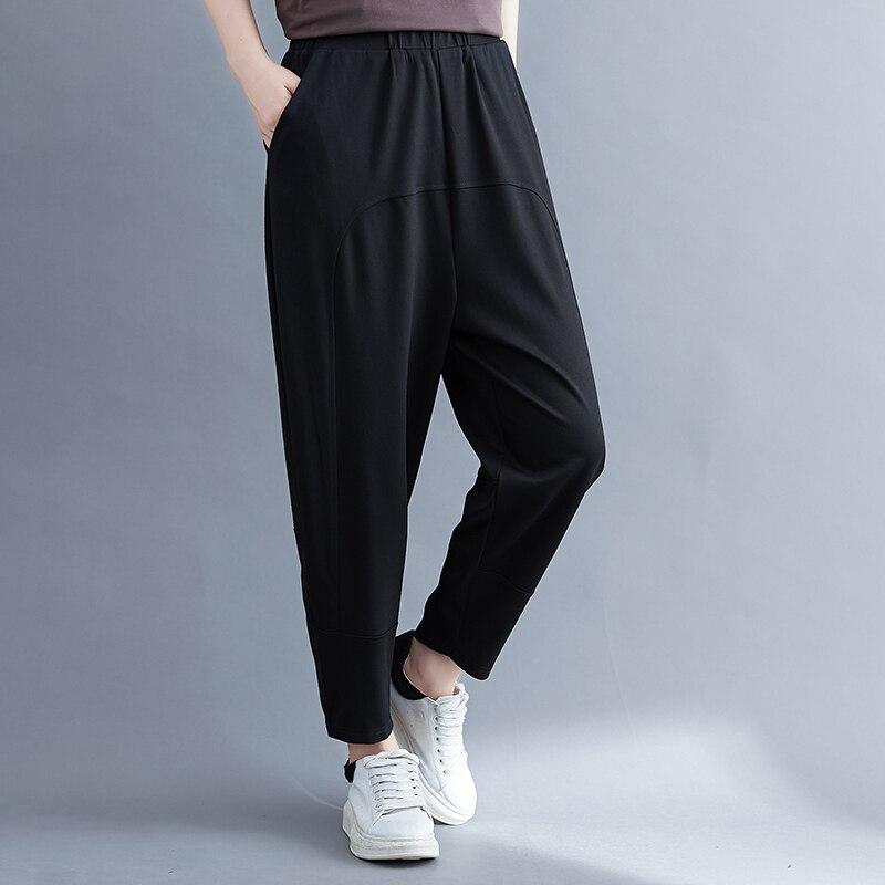 High Waist Women Casual Pants Black Autumn Capris Pants elegant Lady Harem Pants Cotton Linen Female Spring Carrot pants