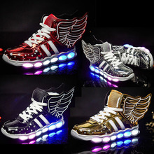цена на Boys&Girls USB Charging Shoes with Wing Led Children Shoes Light UP Kids Casual Sneakers Glowing High Quality Shoe Boys Shoes