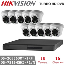 Hikvision 10Pcs 2MP 4 in 1 HD Night Vision indoor Camera with 16Channels  Surveillance DVR CCTV Security System Kits