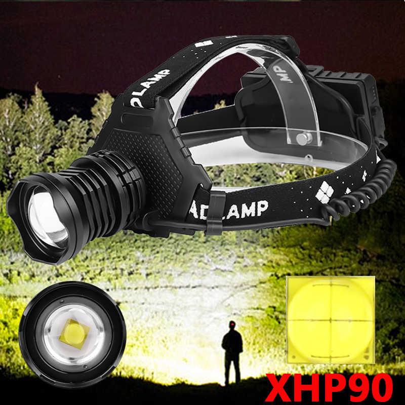 XHP90 2064 Led Koplamp De Meest Krachtige 32W Head Lamp Zoom Power Bank 7800Mah 18650 Batterij Z90 +