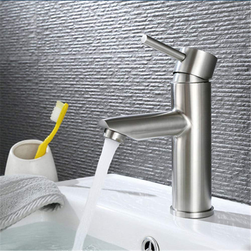 S304 Sink Faucet Bathroom Faucet Stainless Steel Hot Cold Water