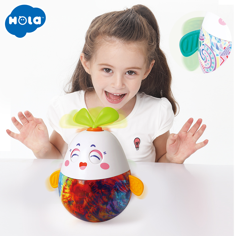 HOLA TOYS 3132 Finger Rock Nodding Tumbler Doll Baby Cute Cartoon Musical Rattles Bell For Baby Gifts