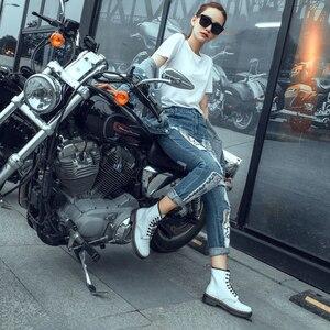 Buty jesienne i zimowe buty motocyklowe płaskie buty na niskim obcasie anglia Martin buty damskie oryginalne skórzane buty damskie środkowe