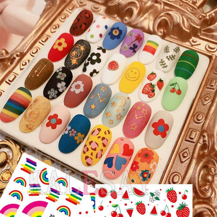 3D Unghie artistiche Sticker Più Nuovo kawaii Avocado Strawberry Arcobaleno Decalcomanie Del Chiodo Autoadesivo Adesivo per la Progettazione Manicure Lettera Decorazioni
