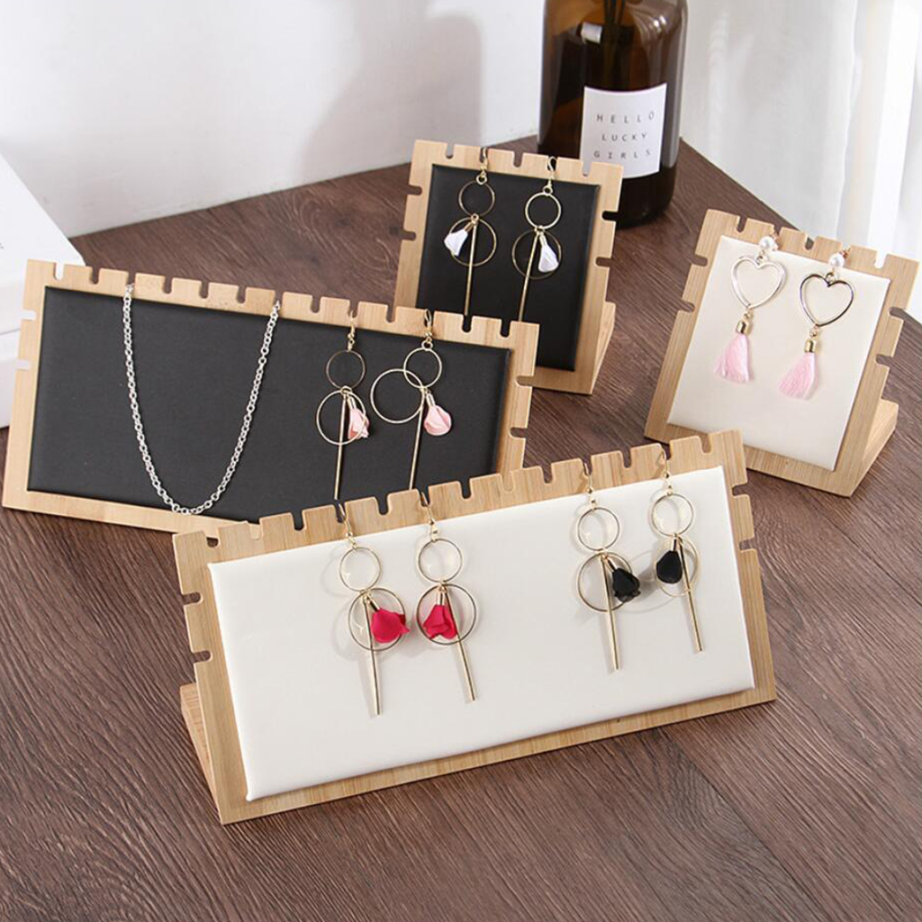 Bamboo Wooden Necklace Jewelry Tabletop Display Plate Necklace Jewelry Display Tray For Store Retail Shop