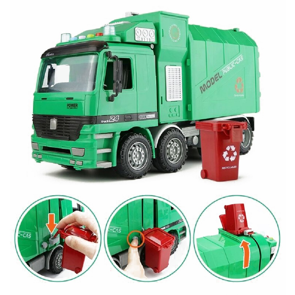 Lnertia Garbage Cleaning Sanitation Truck With Light Music Early Education Story Children Model Car Children Gift