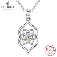 EUDORA Elegant 100% 925 Sterling Silver Lotus Flower Pendant Lotusbloem Necklace for Women Clear Cubic Zircon Jewelry D456