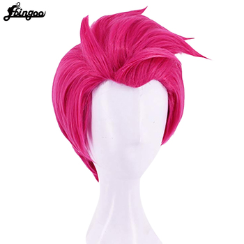 Ebingoo Hair Cap+ Overwatch OW Zarya Synthetic Cosplay Wig Layered Short Natural Wave Rose Red Wigs For Halloween Costume цена 2017