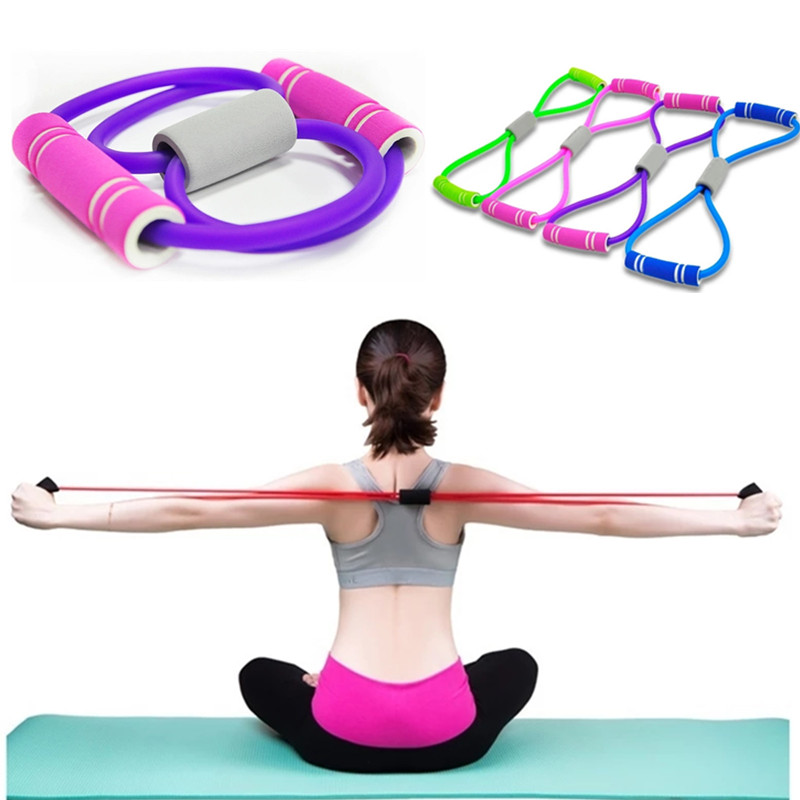 8 Word Resistance Bands Elastic Rope Tension Chest Expander Yoga Pilates Rubber LOOP Latex Fitness Bands Stretch Yoga Training