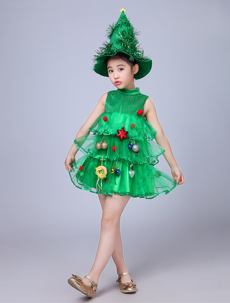 Girls Kids Green Tree Hat Dress Cosplay Halloween  Costume Dresses Tops Party Outfits Costumes Purim Elf Cosplay Christmas