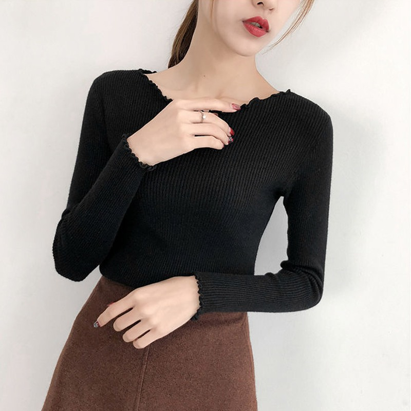 Lady Knitted Sweater O-neck Korean Style Slim Basic White Black Pullovers Autumn  Long Sleeve Jumper HOT