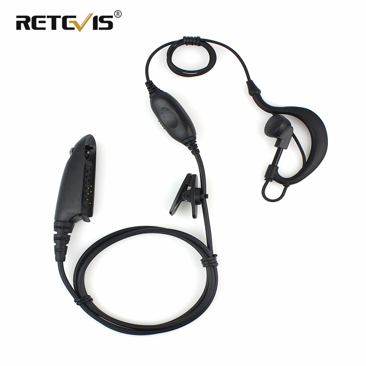 Black PTT VOX MIC Earpiece Walkie Talkie Headset For Motorola Radio HT750 HT1250 GP328 GP329 PRO5150 PRO5350 C0259A