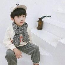 Korean Plaid Lace Cotton Linen Fall Winter Kids Children Scarf Shawl Boys Girls Soft Warm Fashion Accessories-LHC-W6