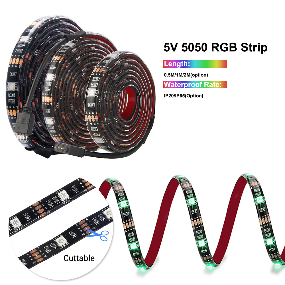 H0e140a2f9ddd40ec838ff6698e3aab747 5V USB Led Strip 5050 RGB LED Strip Light 5050 Bluetooth Music Strip IP65 Flexible Strip Led Ribbon Tape TV Background Lighting