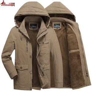Jaqueta de inverno 100% algodão superior quente streetwear blusão jaqueta de lã masculino multi-bolsos de pele com capuz casaco parka roupas homem
