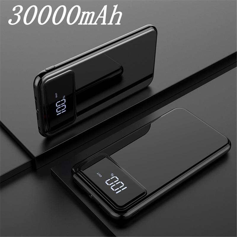 Внешний аккумулятор 30000 мАч Внешний аккумулятор портативное быстрое зарядное устройство для всех смартфонов с зарядным устройством банк полный экран водонепроницаемый - Color: Black 30000mAh