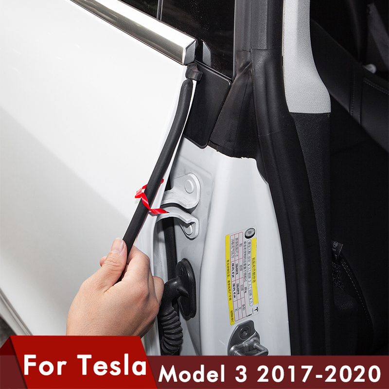6PCS Car Door Seal Kit Doors Trim Edge Moulding Weather Seal Strip Wind Noise Reduction Kit For Tesla Model 3 Accessories Model3