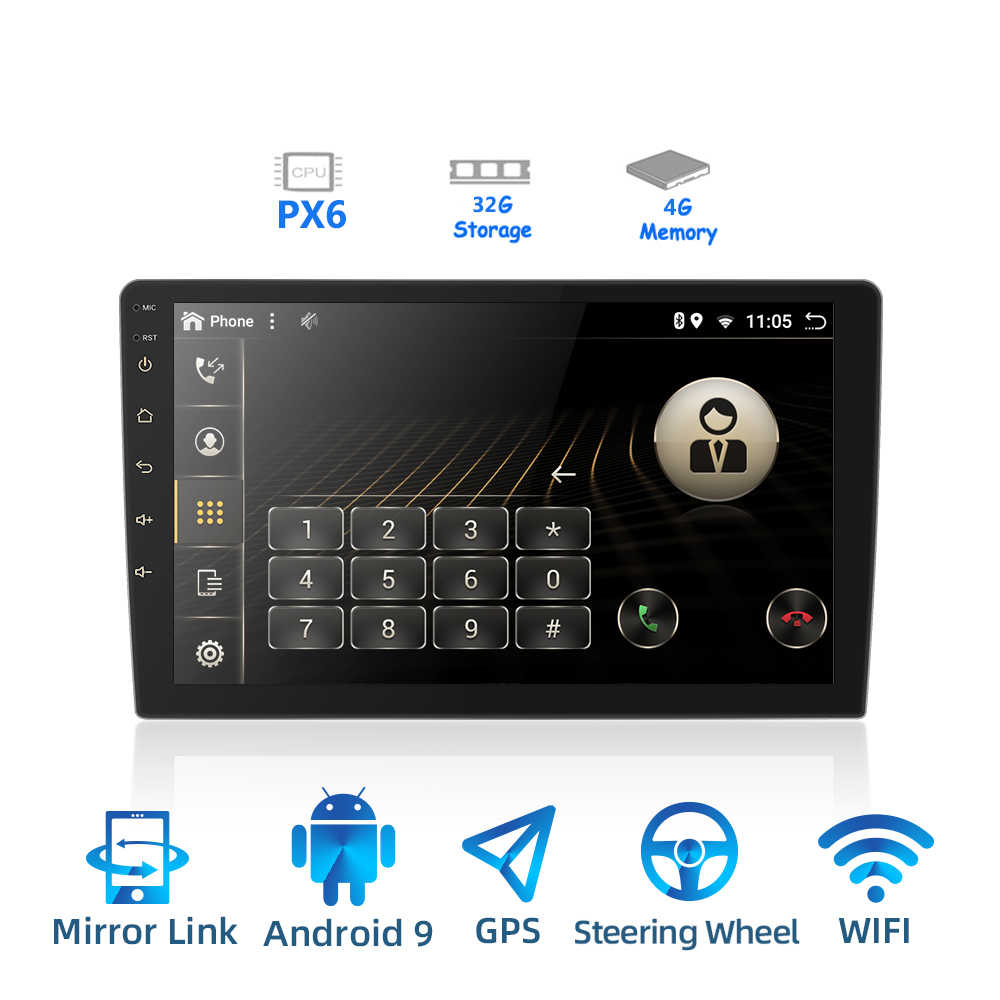 2 DIN Android 9.0 Ouad Core PX6 Radio Stereo GPS NAVI Âm Thanh Video PC Box Wifi BT HDMI amp 7851 OBD DAB + SWC 4G + 32G