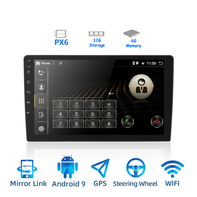 2 DIN Android 9.0 Ouad Core PX6 Radio Stereo GPS NAVI Âm Thanh Video PC Box Wifi BT HDMI amp 7851 OBD DAB + SWC 4G + 32G