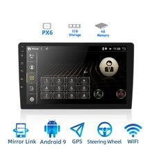 Rádio para carro, rádio automotivo com android 9.0 ouad core px6 estéreo gps navi com vídeo player de áudio, pc, wi fi, bt hdmi amp 7851 obd dab + swc 4g + 32g