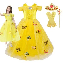 лучшая цена New yellow color Belle princess dress Beauty and the Beast stage cosplay Costume dress
