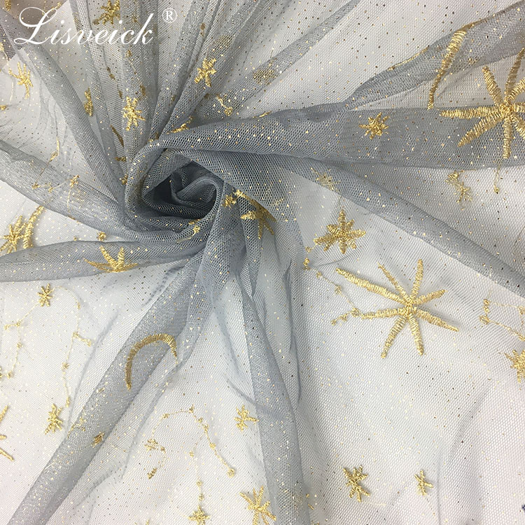1yard New Star Embroidery Bronzing Mesh lace fabric Evening Gown Wedding dress Fabric Transparent DIY Cloth in Fabric from Home Garden