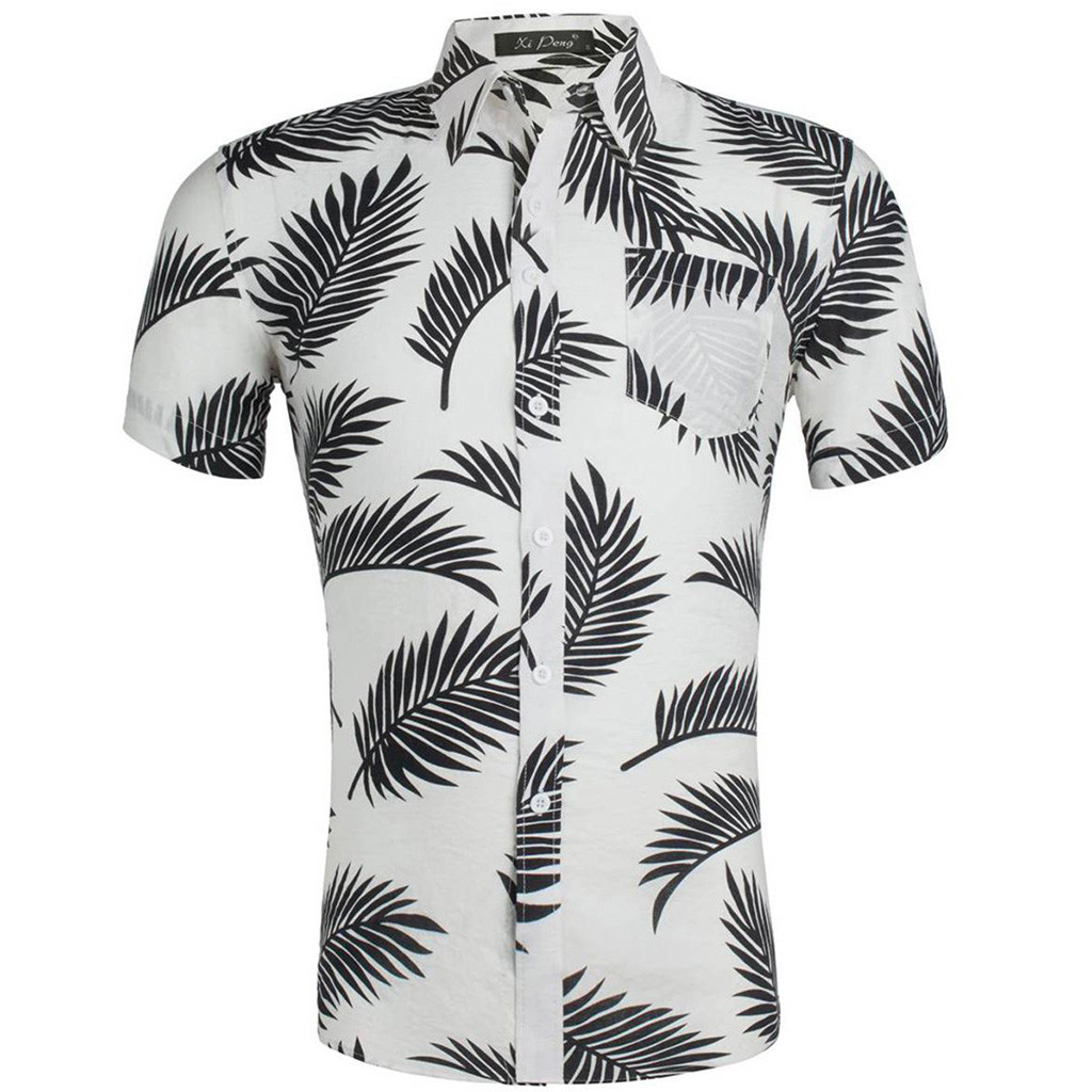 2019 Summer New Men's Short Sleeve Shirt Fashion Casual Hawaiian Shirt Flower Shirt Male Plus Size   Apr26